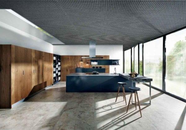 Next 125 Indigo Blue Matt Glass with Old Oak Kitchen