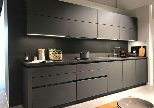 Next 125 Lava Black Matt Glass Kitchen