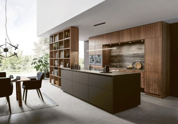 Next 125 Veneer Natural Walnut with Fenix Mocha Brown Kitchen